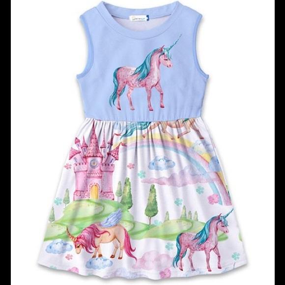 🦄 Blue & Pink Unicorn & Castle Betsy Dress 🦄